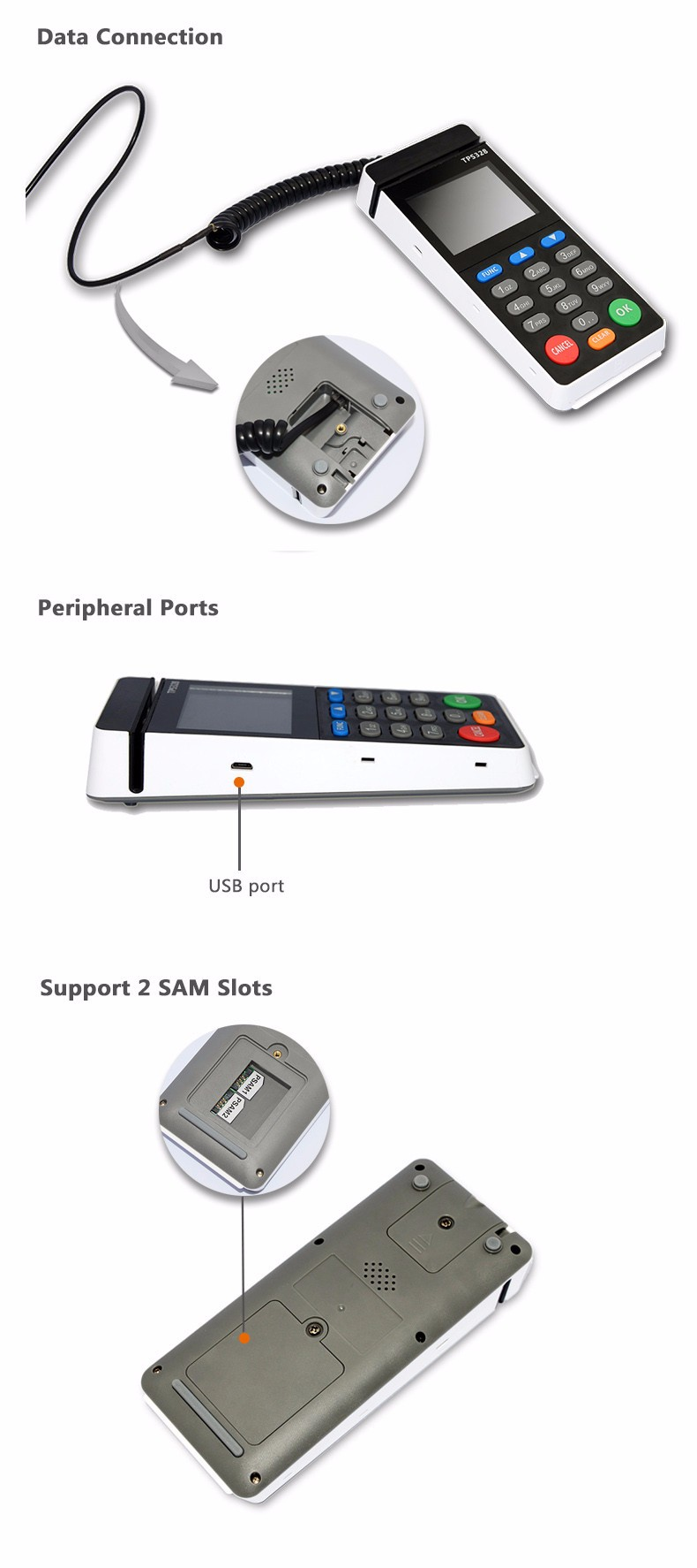 Wholesale Touch Panel e-Swipe card machine with NFC EMV PTS PCI Card Reader TPS-328