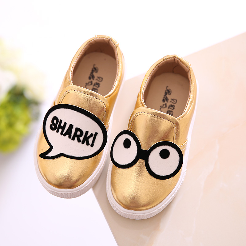 Size13.5-18.5cm Boys Girls Shoes 2016 New Spring Fashion Kids Shoes Breathable Cartoon Cute Eyes Boat Flats Casual Lazy Shoes