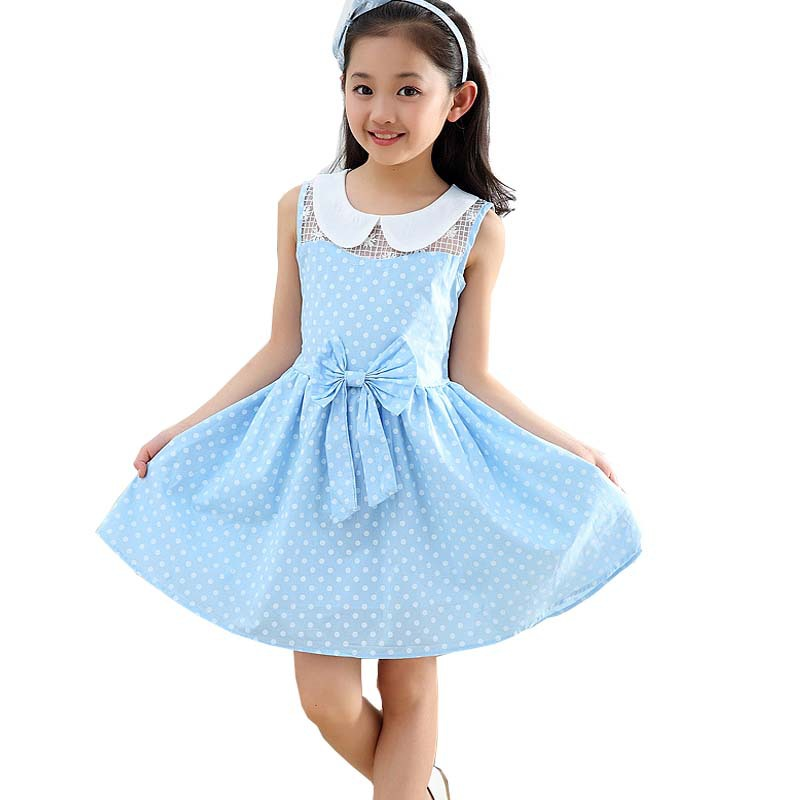453246e11e38 Get Quotations · 2015 New Summer Children Clothing Sleeveless Girls Polka  Dot Dress Kids Casual Turn Down Collar girl
