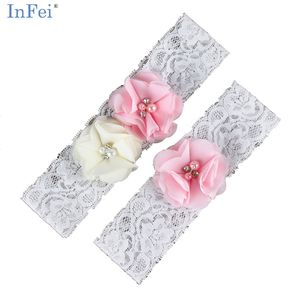 Women's 2 Piece/Set Bridal Rosette Chiffon Flowers Lace Garters One Size for Wedding, Party