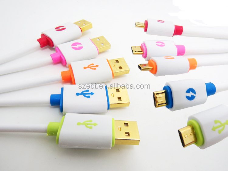 Newest Design Micro LED lighting USB Data Cable For Android cell phones