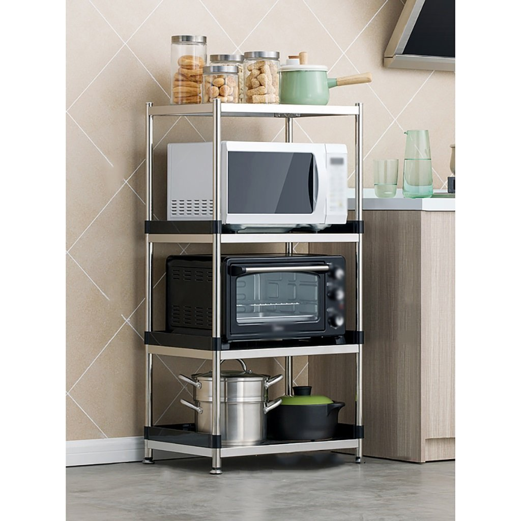 LXLA- 3,4-Tier Stainless Steel Kitchen Shelf Microwave Oven Rack Storage Floor-standing Multifunction Multilayer 55/60/70×39×77/110cm (Color : 4-Tier, Size : 55cm)