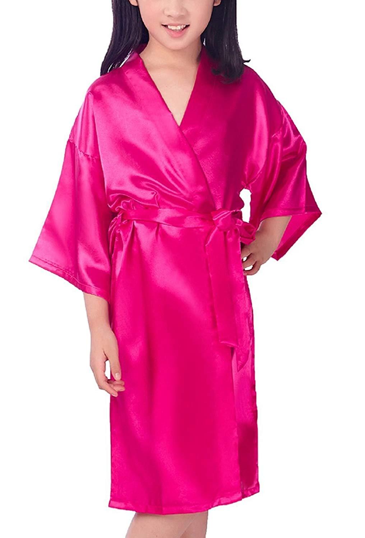 120161553f0 Get Quotations · Mobarta Girls Kids  Satin Kimono Robe Fashion Bathrobe Silk  Nightgown Getting Ready Robe For Wedding