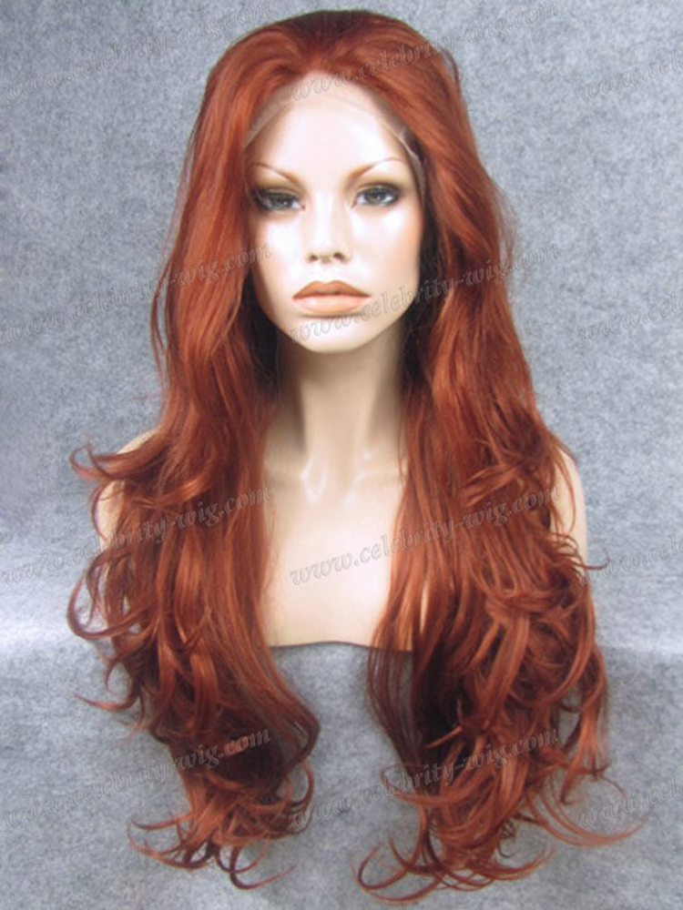 26Inch Cheap Long Wavy Heat Resistant Drag Queen' s Synthetic Natural Hair Copper Red Lace Front