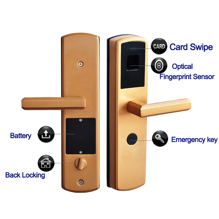 European style smart rf id fingerprint reader door lock Bottom Door Lock