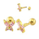 316L Surgical Steel Gold Butterfly CZ Gem Tragus Cartilage Barbell Ear Piercing Stud Earring