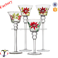 set of 3 flower decal round mounth long-stemmed glass candle holder/Candelabra for wedding party home hotel holiday decoration
