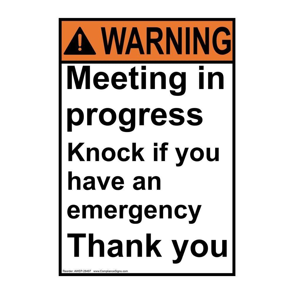 buy compliancesigns vertical aluminum ansi warning meeting in