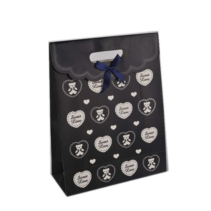 Latest Design Foldable Sticker Heart Print Children Red Bowknot Gift Paper Gift Bags