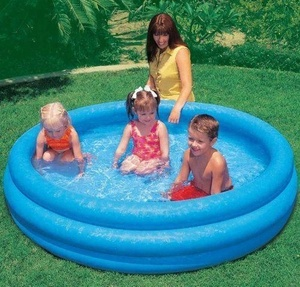 Intex 58446 Inflatable Crystal Blue Round Wading Pool Swimming Pool Baby Pool for Indoor and Outdoor