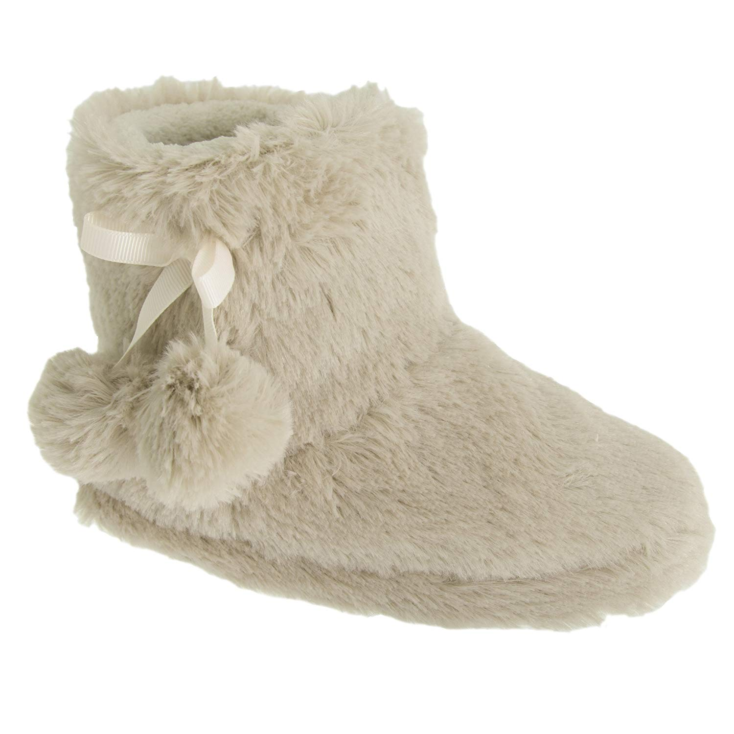 94ded027715 Get Quotations · Childrens Girls Plush Boot Slippers with Pom-Pom Detail