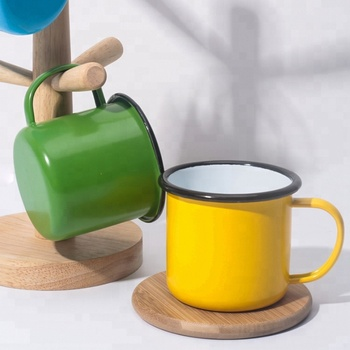 Promotional solid color enamel coffee mugs