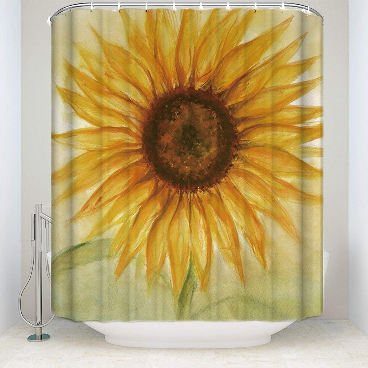 Big Sunflowers Pattern Shower Curtain Bathroom Decor