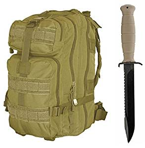 "Glock 81 Sand Tan Field Knife 6.5"" Length Carbon Steel Blade with Saw Spine Polymer Handle Clip Point with Sheath + Ultimate Arms Gear Assault Backpack Bug Out Bag Transport MOLLE"