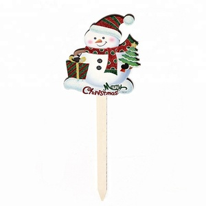 Merry Christmas slogan snowman wooden yard sign stake decoration holiday party