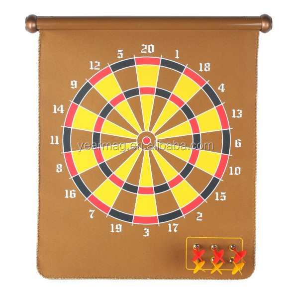 Magnetic Dartboard Sets with 6 Reversible Darts Rolling Two Sided Bullseye Game Magnetic Safety Dart Board Kids Family Leisure