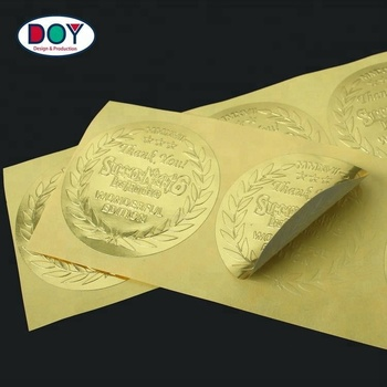 Low MOQ High Quality Custom Name Logo Embossed 3D Gold Foil Paper Label Stickers with Gold Foil