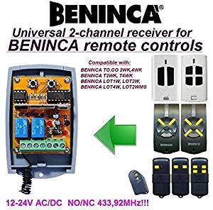 Beninca compatible receiver. 2-channel universal receiver for BENINCA T2WK, T4WK, TO.GO 2WK, 4WK LOT1W, LOT2W, LOT4W, LOT2WMS remote controls. 12-24V AC/DC, NO/NC 433.92Mhz rolling / fixed code