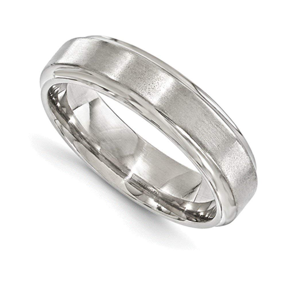 Jewelry Adviser Rings Edward Mirell Titanium Brushed & Polished Beveled 6mm Band Size 10.5