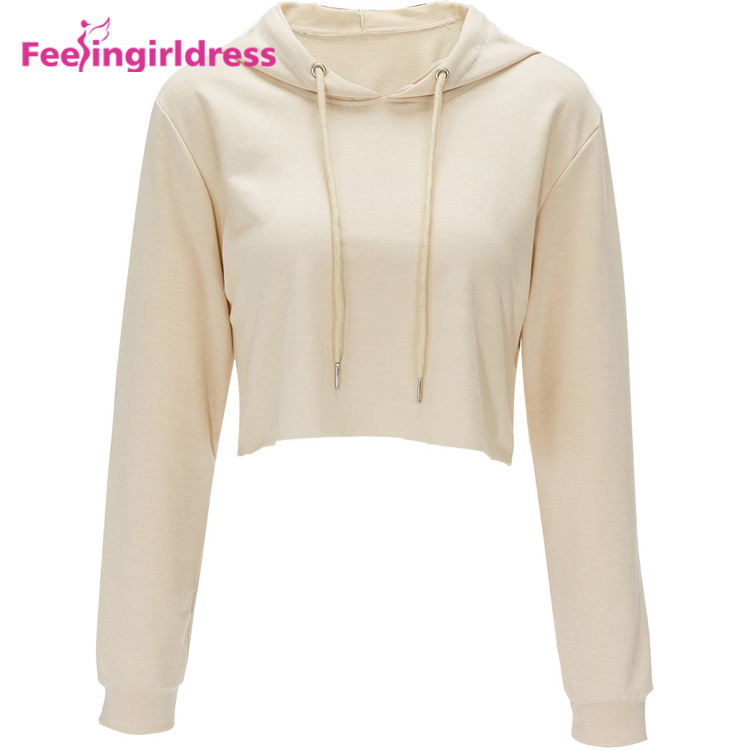 OEM Logo Latest Design Lady Pullover Hoodies Women Long Sleeve Crop Top