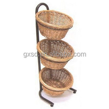 S D 3 Tiers Mobile Pe Wicker Basket For Fruit Vegetable Display Stand