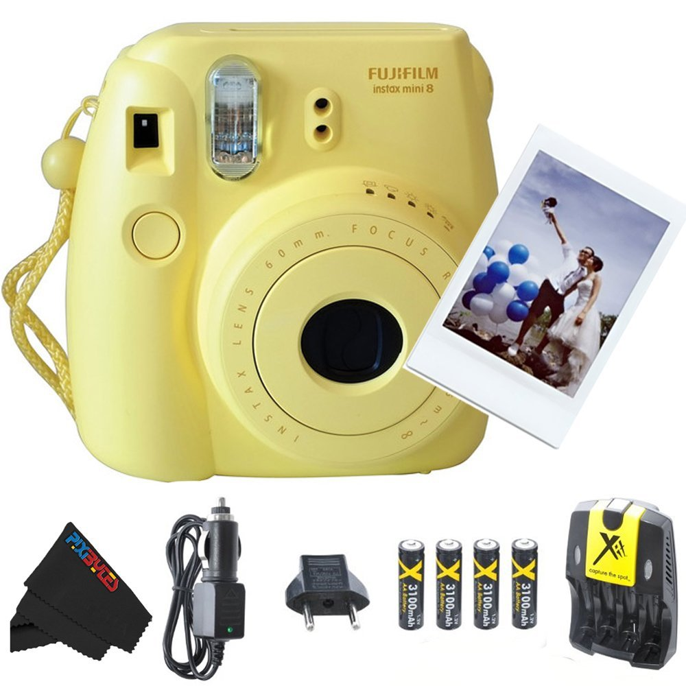 Fujifilm Instax Mini 8 Instant Film Camera (Yellow) + 4 AA Ultra High Capacity 3100mah Rechargeable Batteries with AC/DC Travel Turbo Quick Charger + PixiBytes Exclusive Cleaning Cloth