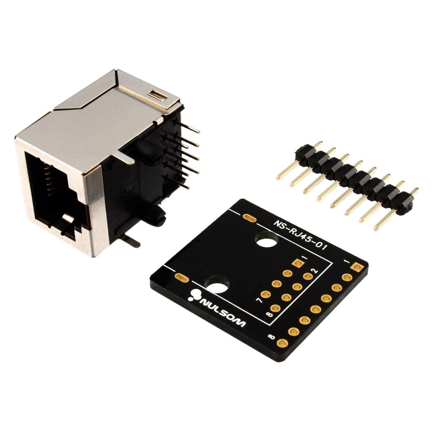 RJ45 8-pin Connector (8P8C) and Breakout Board Kit for Ethernet DMX-512 RS-485 RS-422 RS-232 (Unassambled)