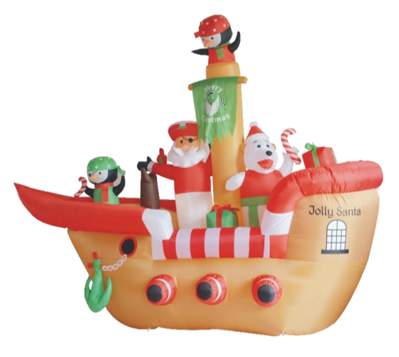New inflatable christmas santa claus decorations/inflatable nice design pirate ship with LED light