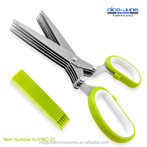 5 Blade Stainless Steel Kitchen Herb Cutting Scissors Herb Scissors With Cleaning Cover