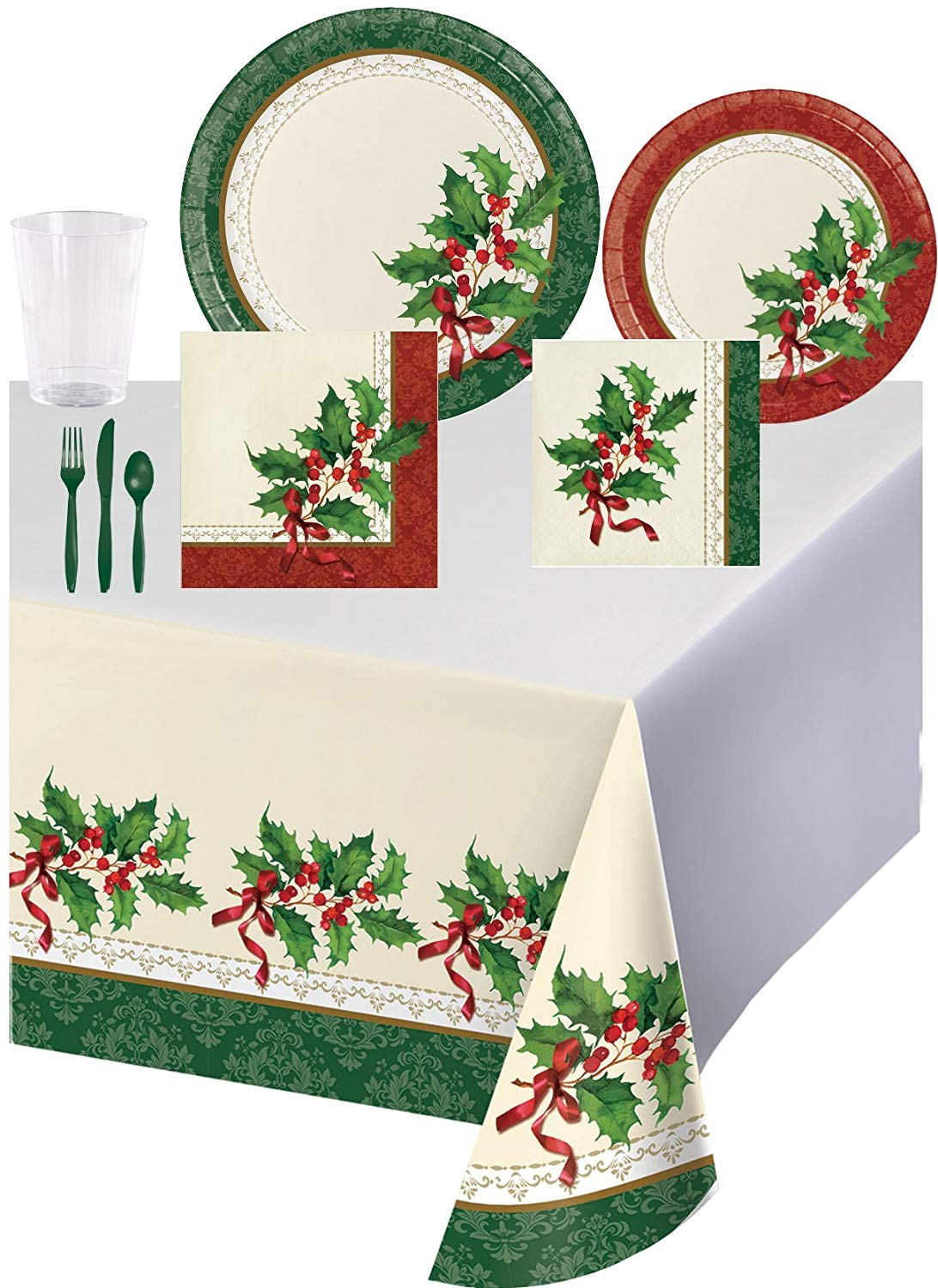 Christmas Holly Dinnerware Set in Holiday Taditions Design for 8 Guests - Bundle Includes Plates, Napkins, Cups, Cutlery, and a Tablecover