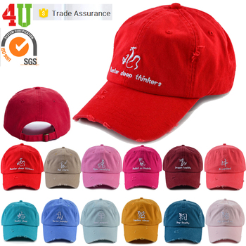 93abc4971a97b Cheap Wholesale 6 Panel Unstructured Embroidered Distressed Custom Dad Hat  Factories In China