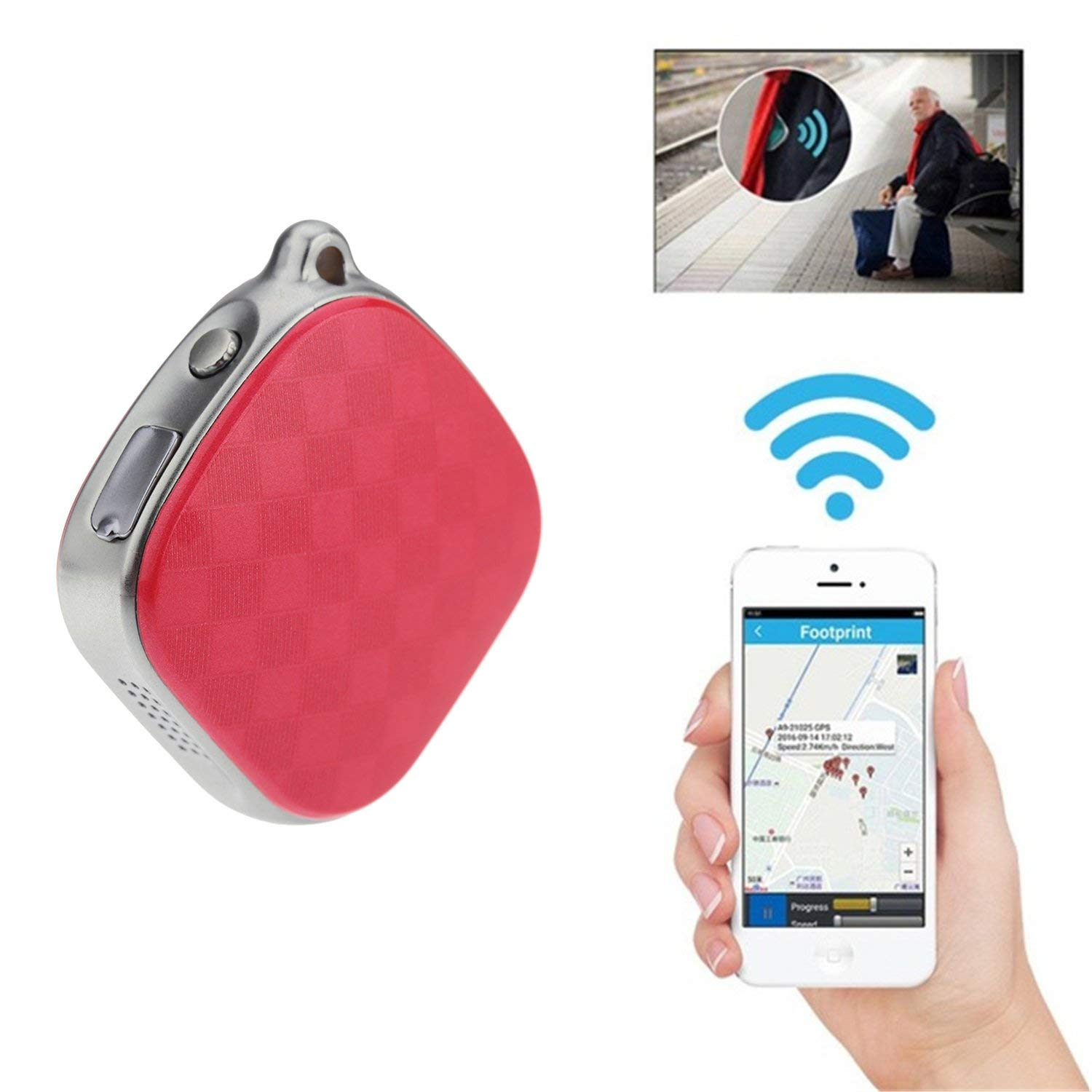 Tracker GPS Mini,Hangang Finder Locator 2G GSM (GPS+AGPS+WIFI+LBS) Locating,SOS Alarm,Geo-fence,Voice Monitor,Kids/Children/Pets/Vehicle Tracking Device,with 500mAh Battery 5 days Standby Time (red)