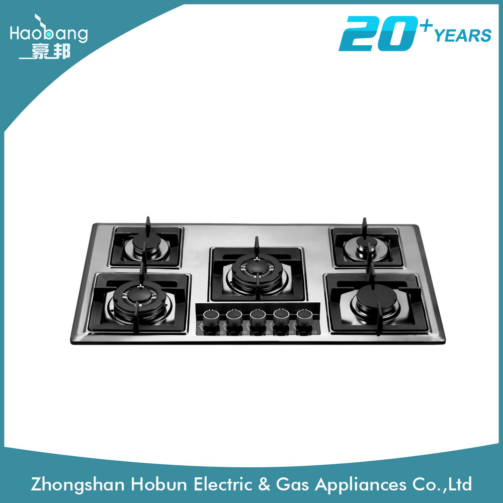 Hot 5 burner tempered glass gas hob/gas stove/cook top