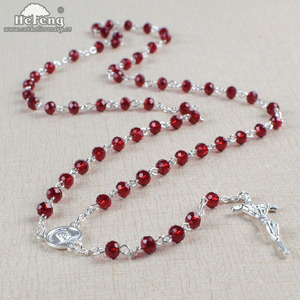 Pope Francis 6mm transparent red glass rosary