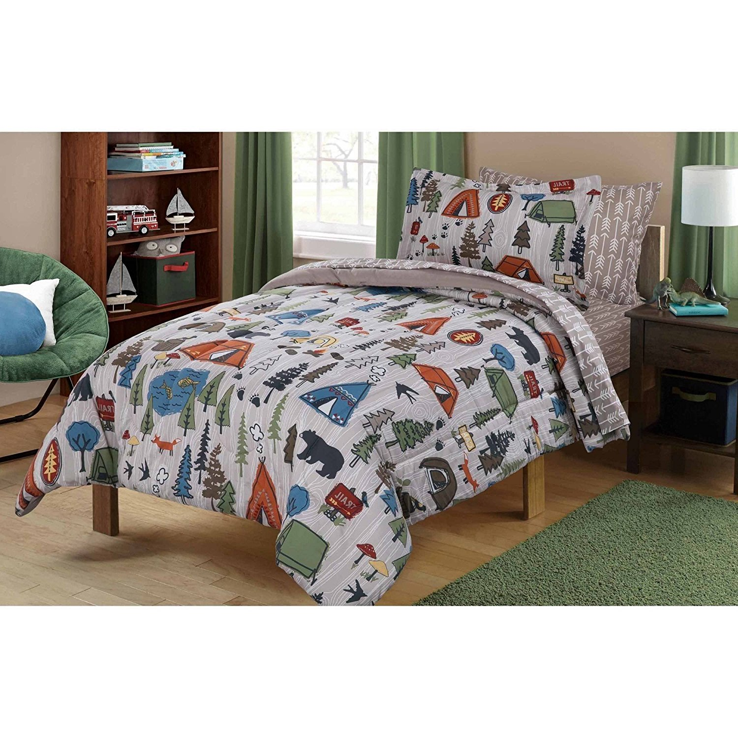 N2 5 Piece Kids Grey Cute Camping Themed Comforter Twin Set, Outdoors Camp Pattern Bedding Bears Pinetrees Tents Trees Wilderness Trails Hiking Forest, Brown Orange Green Polyester Microfiber