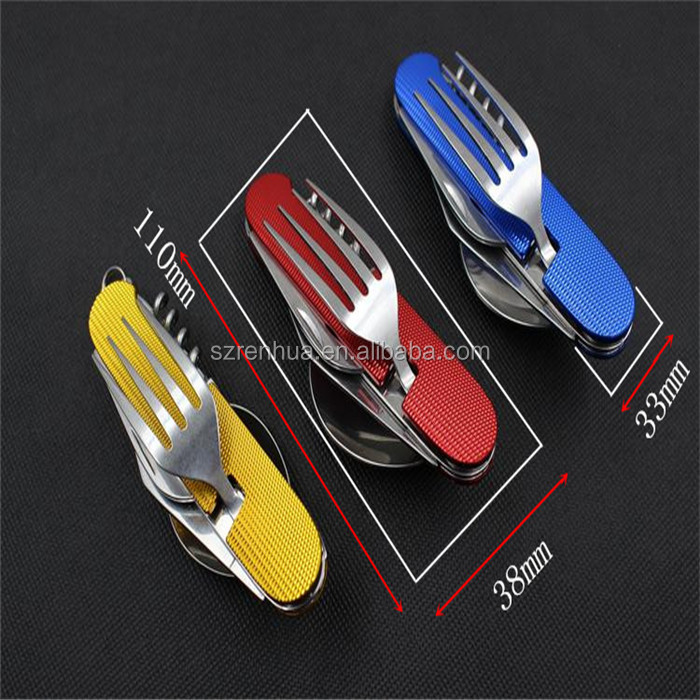 6 in 1 Folding Dinnerware Set camping fork knife spoon
