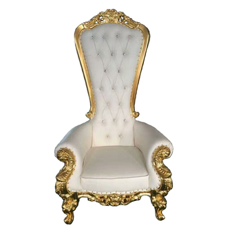 Hotel Furniture Wooden Luxury carving French Baroque White Gold High Back cheap leather Queen King Throne Wedding Chairs