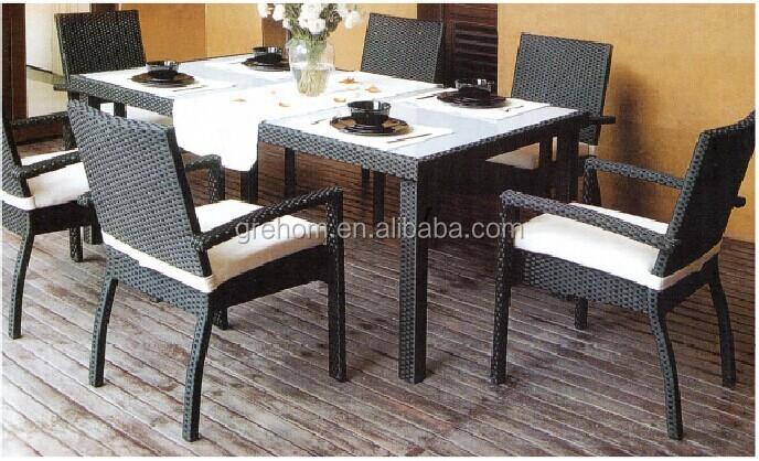 Meubles en rotin ext rieur noir et blanc en rotin table de for Meuble en rotin exterieur