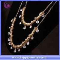 Bling crystal design fashionable jewelry wholesale price 18k gold necklace YWN5268