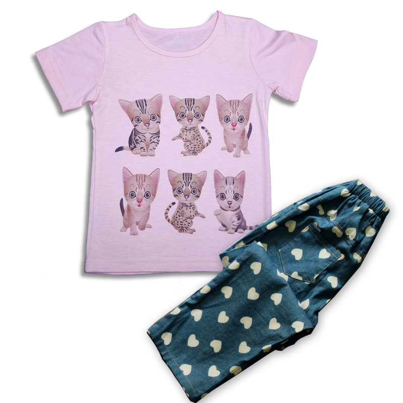 Baby Girl Clothes Casual Clothing Set Cartoon Kids Clothes Brand T Shirts + Pants High Quality 100% Cotton Children Clothing