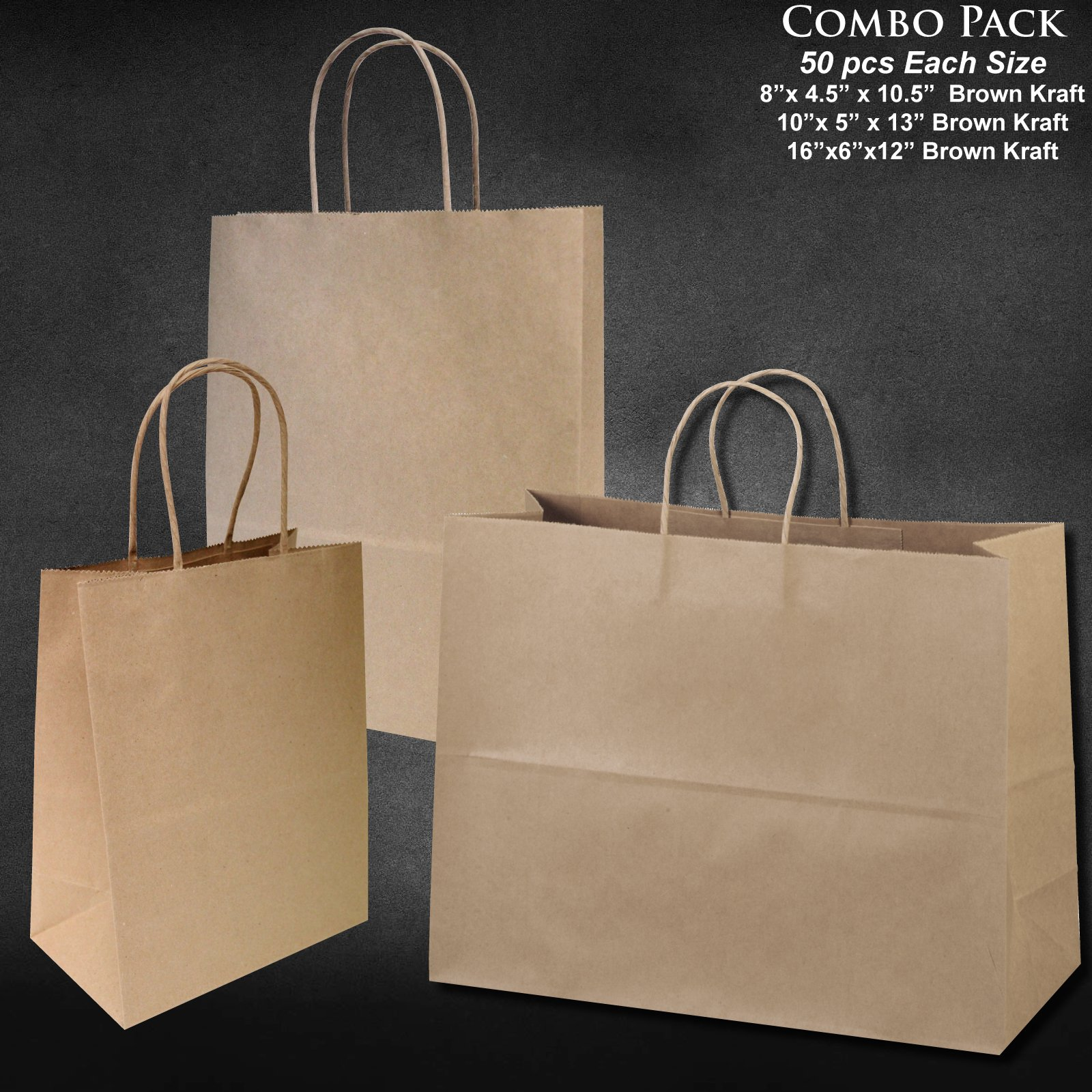"8""x4.75""x10""-10""x5""x13""-16""x6""x12"" - 50 Pcs Each - Bagsource® Brown Kraft Paper Bags 95% POST CONSUMER MATERIALS & FSC CERTIFIED"