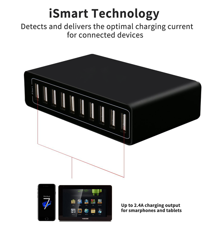 2019 Amazon 50W 10 Port USB Charging Station Desktop USB Charger for Phone and Tablet