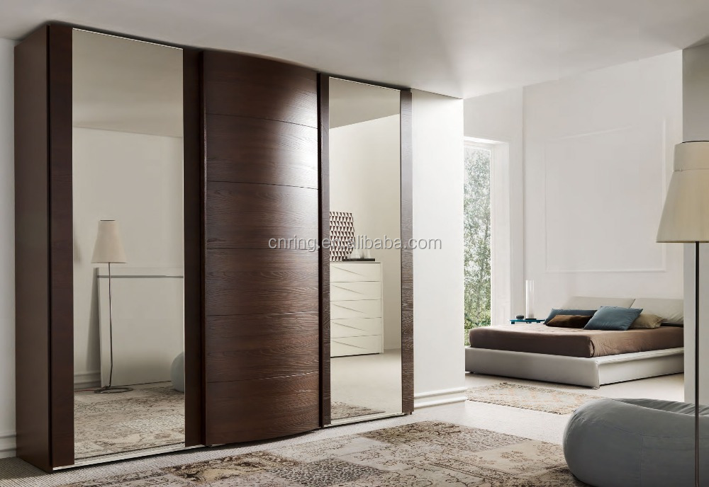 Aparador Tok Stok ~ Francés puertas correderas armarios dormitorio moderno diseño de armario con espejo Guardarropas