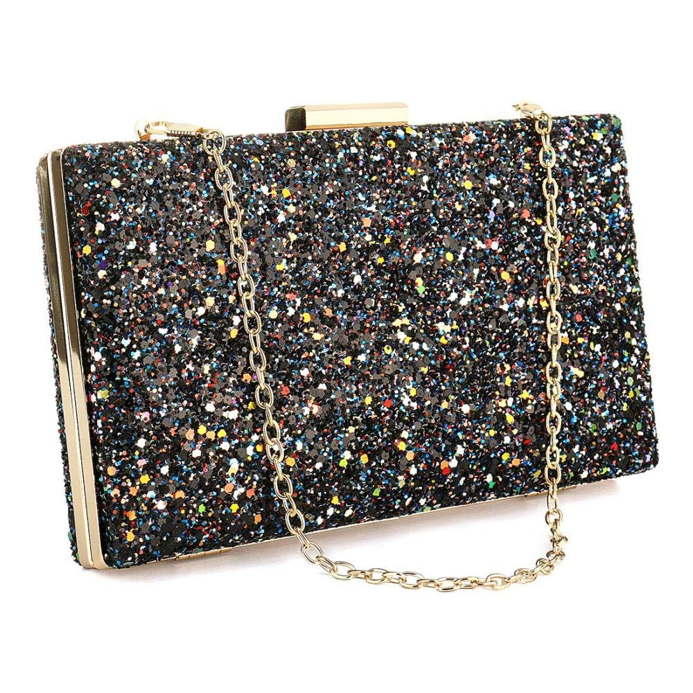 f313eb4f20e94 Get Quotations · Womens Elegant Sequin Acrylic Clutches Purse Fashion Shiny  Evening Box Clutch Crossbody Purse Evening Bag for