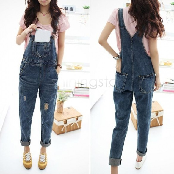 cd2882d138c Get Quotations · 2014 Women Girl Washed Jeans Denim Casual Hole Jumpsuit  Romper Overall  16 SV005721