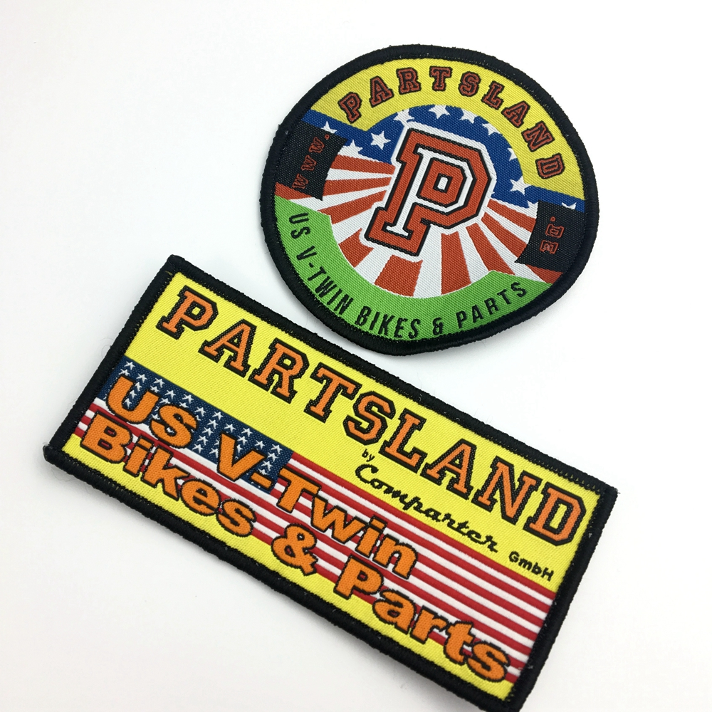 custom sewn on woven brand patches for garment clothing