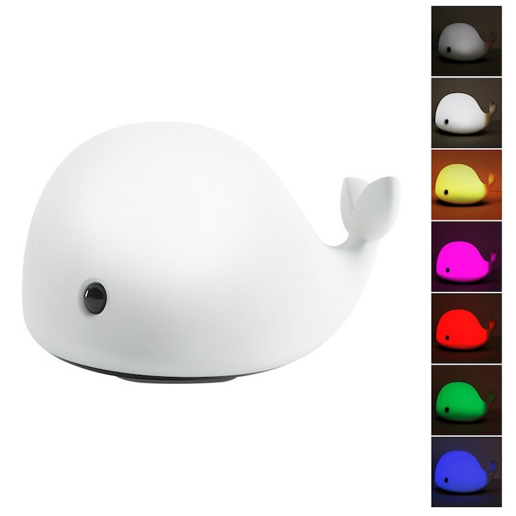 Whale LED Baby Night Light USB Rechargeable Silicone Touch Lamp Kids Bedroom 7 Colors