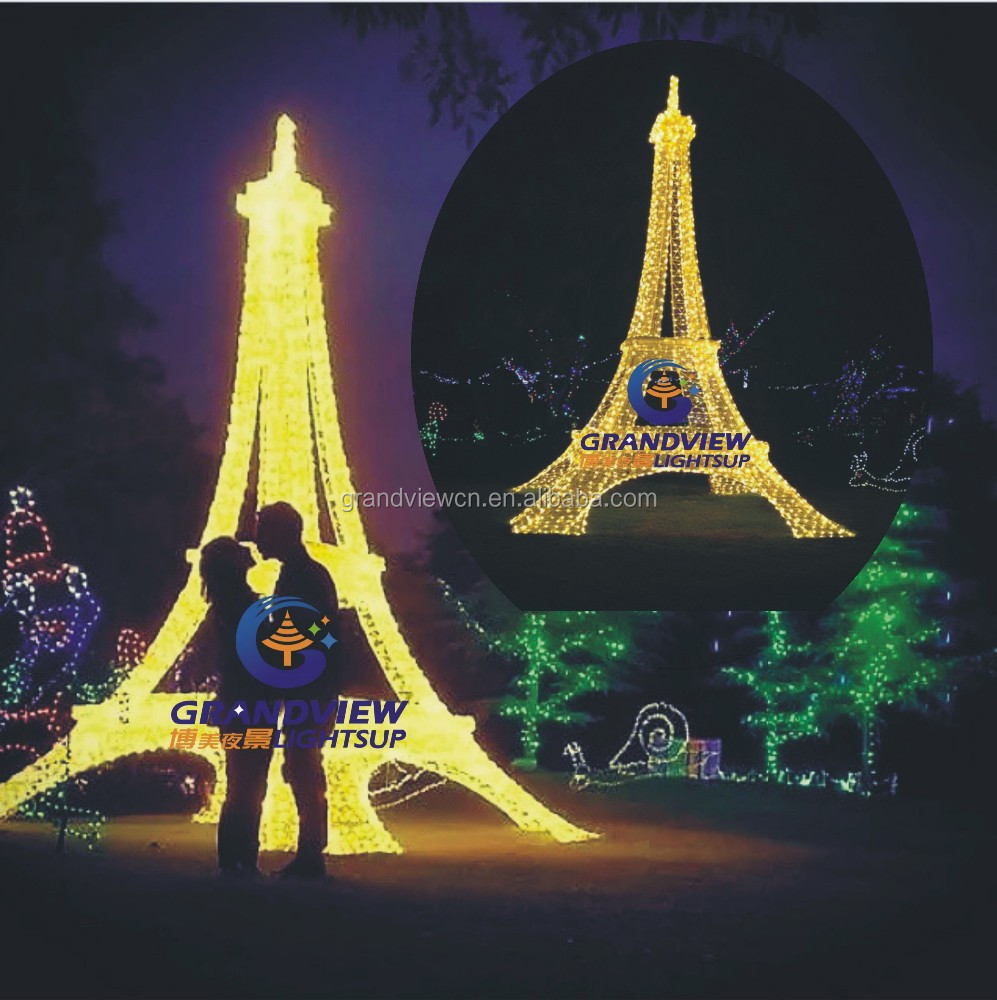 Led 3d Lightup Eiffel Tower Christmas Motif Lights For Holiday ...