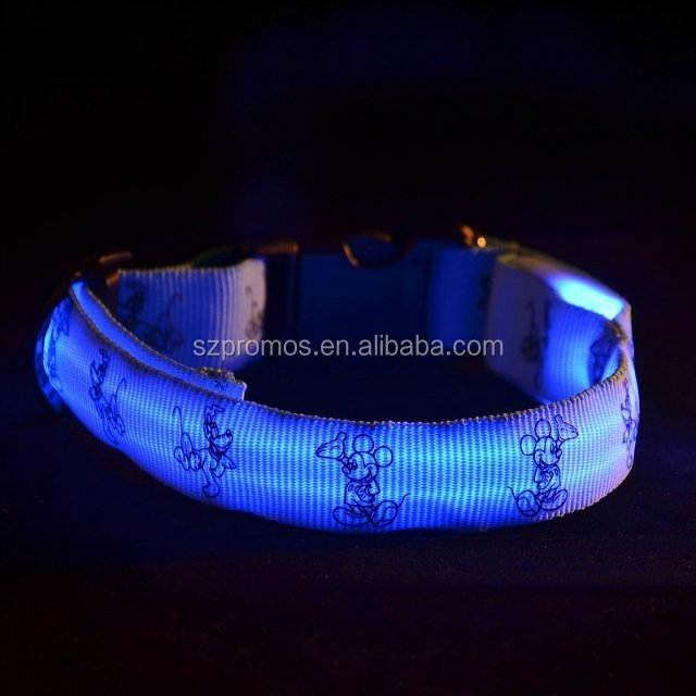 2016 best quality nylon led dog collar and leash glowing in dark dog