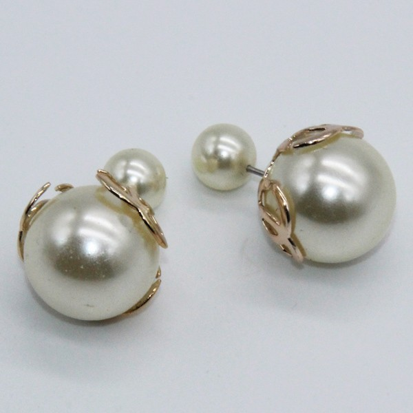 Fashion jewelry classic pearl earring double side bead circle CC earrings  for women stud earrings jewelry